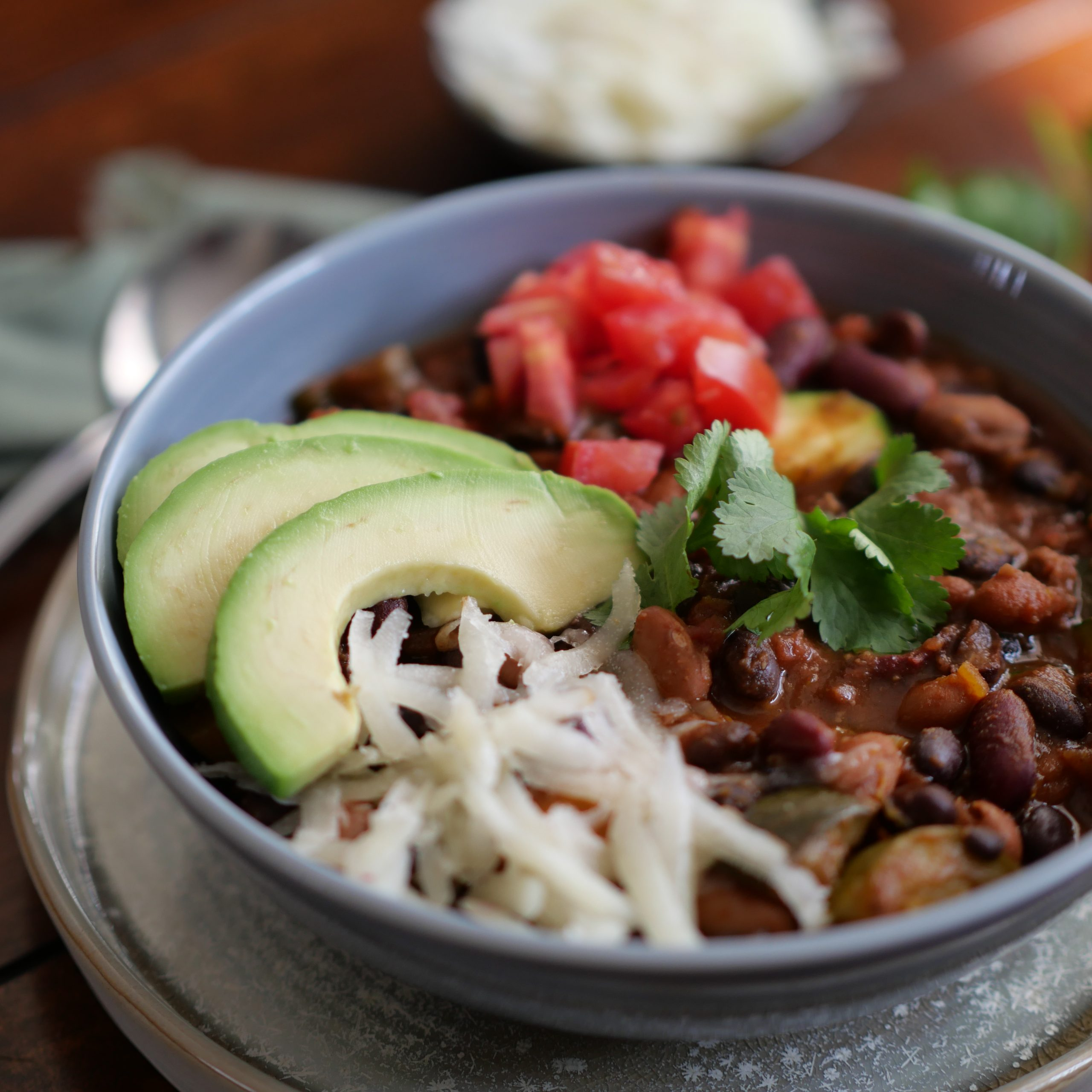 Three Bean Chili With Vegetables