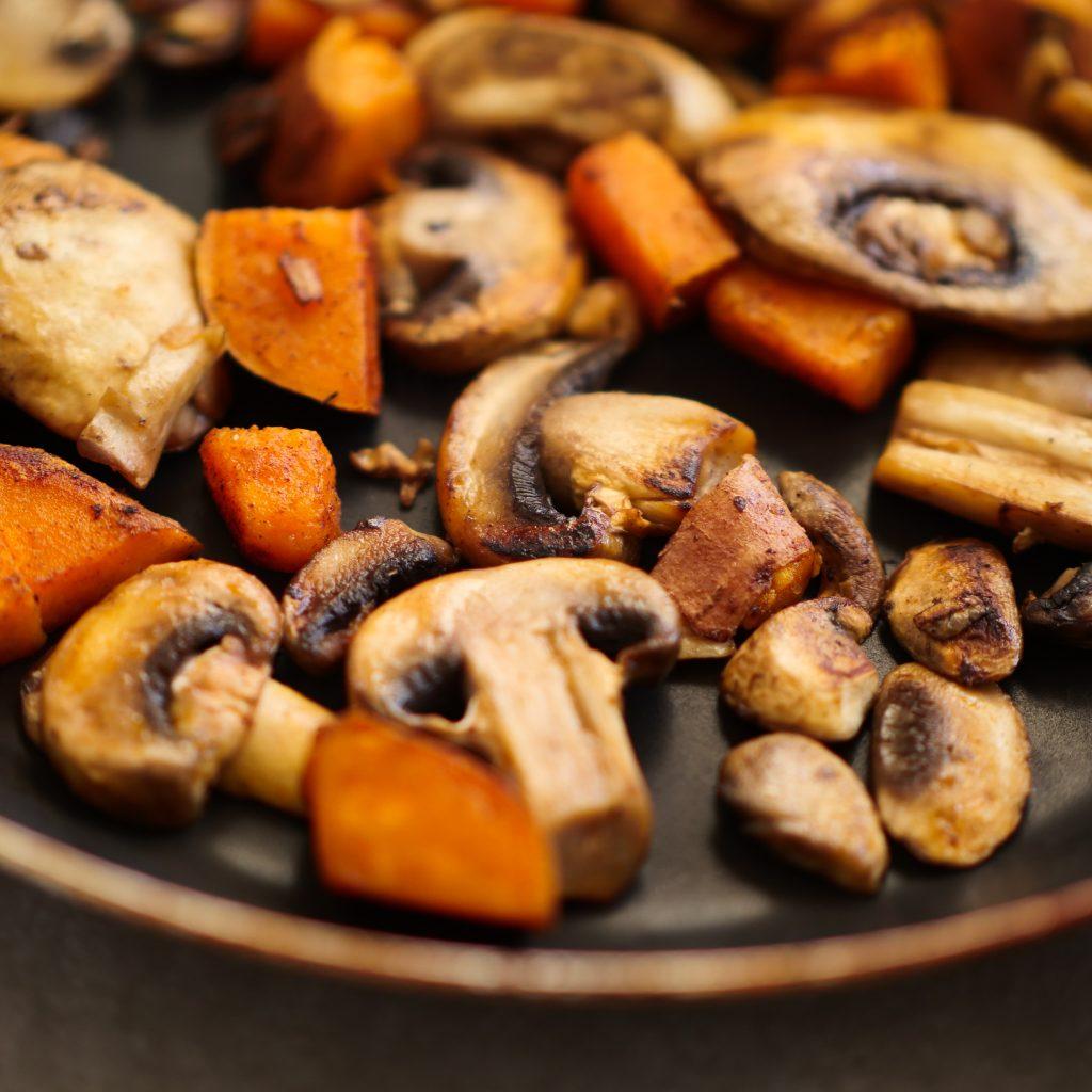Sautéed sweet potatoes with mushrooms