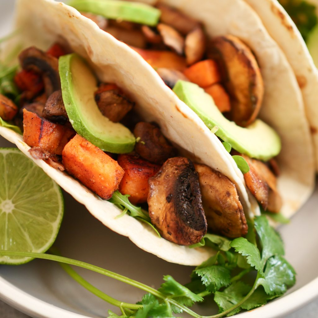 Mushroom and Sweet Potato Tacos With Cilantro Garlic Tahini