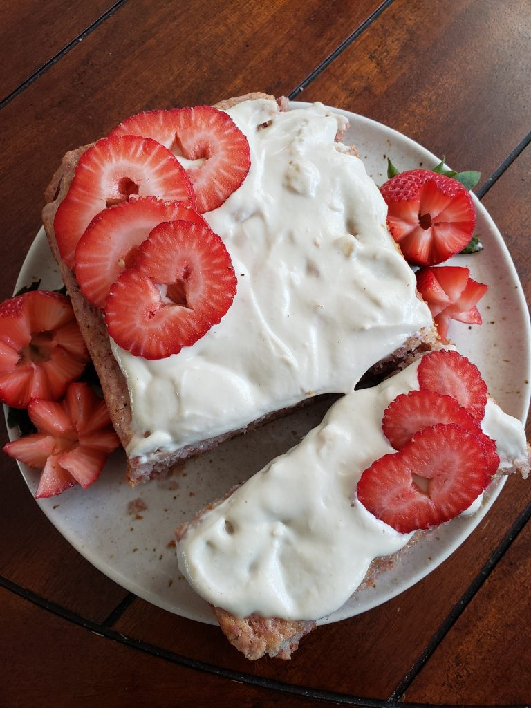 Easy Strawberry Bread With Cashew Frosting