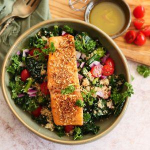 Salmon Salad With Sweet Onion Vinaigrette Dressing