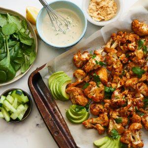 BBQ Cauliflower Salad With Vegan Ranch Dressing