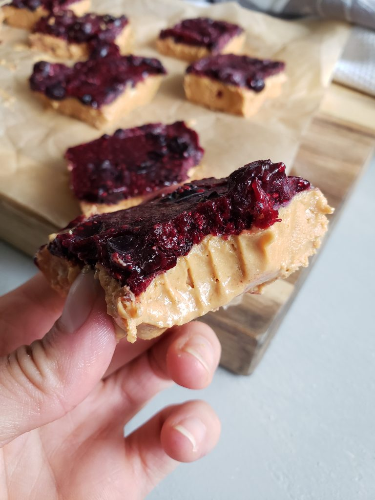 Easy Peanut Butter Jelly Freezer Bars