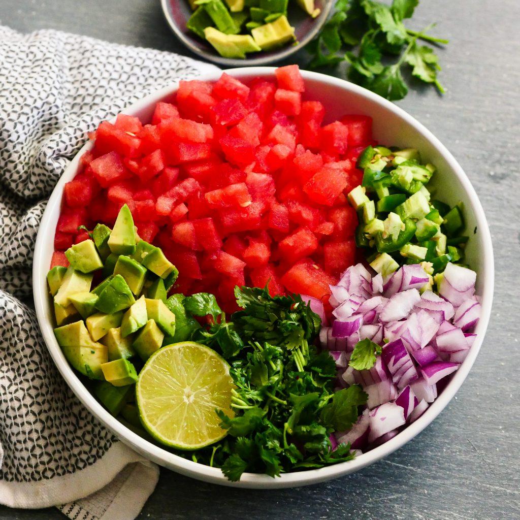 Ingredients for watermelon salsa